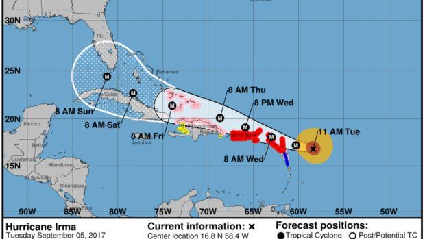 Map of the path of Hurricane Irma