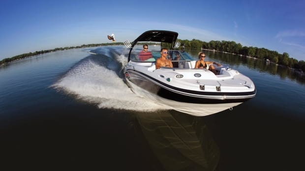 Nautic Global Group's Hurricane line holds as much as half of deckboat market share. This is a Hurricane Sundeck 220 IO.