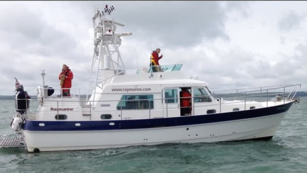 Raymarine uses this Hardy 42 trawler to test its products off England's southern coast.