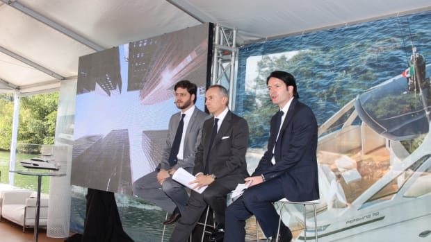 Ferretti Group chief commercial officer Stefano DeVivo (left), CEO Alberto Galassi and CEO of the Americas James Henderson are shown at a press conference Thursday at the Miami show.