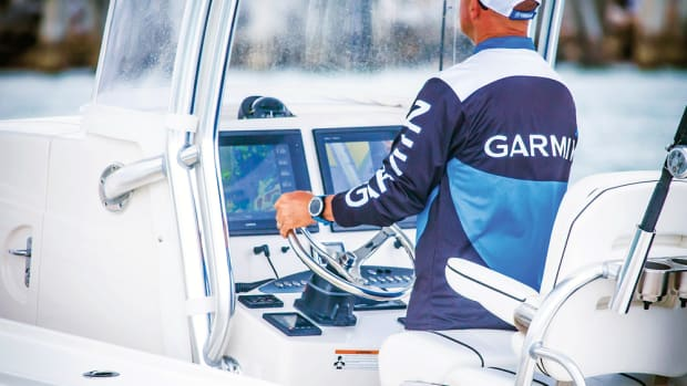 Garmin outfitted four center consoles, including this 38-foot Jupiter, with its latest products.