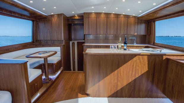 Paul Mann Custom Boats won for the figured teak veneer cabinetry in the recently launched 60-foot sportfishing yacht Caught Up.