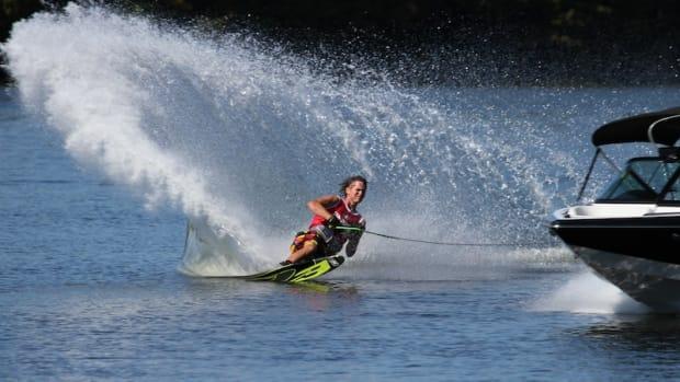 A finalist skis in Nautique's U.S. Open of Water Skiing.
