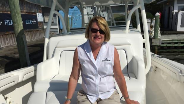 Regulator Marine president Joan Maxwell is shown with the company's new flagship Regulator 41.