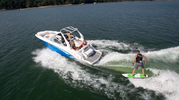 The 244 Sunesta Surf is one of five models Chaparral now offers with Malibu's wake-surf technology.