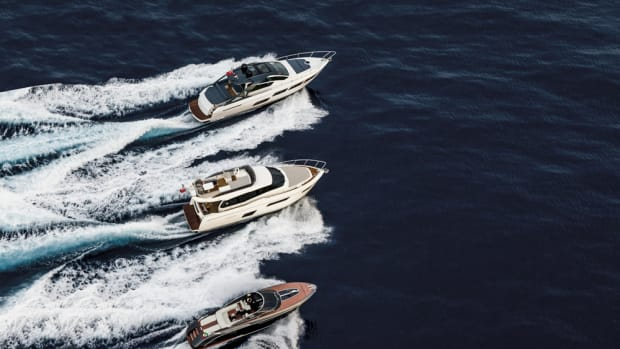 The Ferretti Group will debut (from top) the Pershing 5X, the Ferretti Yachts 450 and the Rivamare at the Düsseldorf boat show.