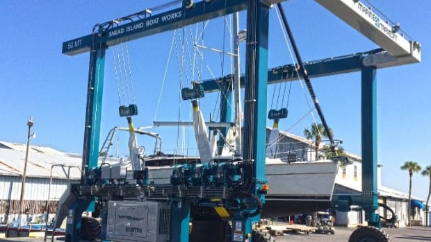 Marine Travelift said Snead Island Boat Works has been buying its boat hoists since 1968.
