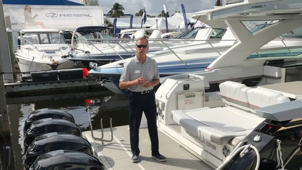 John Adams, the exclusive designer for Formula, introduces the new flagship, the 430 SSC (Super Sport Crossover) with quad 400-hp outboards, at the Fort Lauderdale International Boat Show.