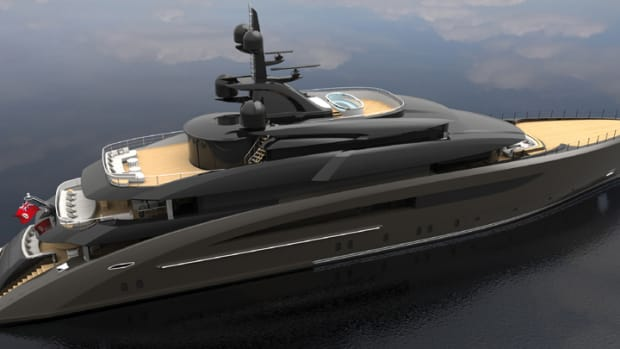 This is a rendering of CRN's new 203-foot yacht, which features five decks.