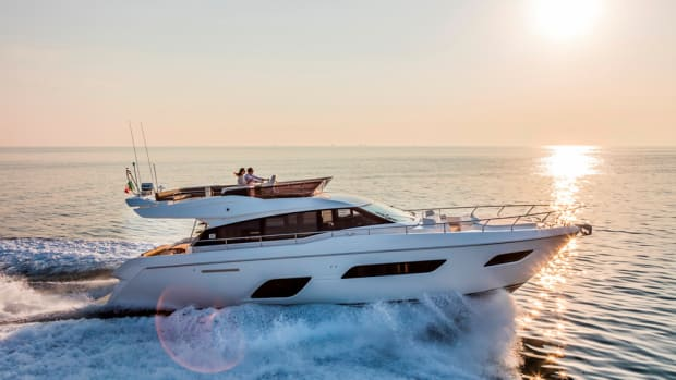 The Ferretti Yachts 550 will make its Persian Gulf premiere at the Dubai International Boat Show.