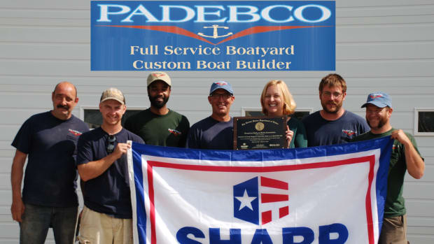 Padebco Full Service Boatyard & Custom Boat Builder received SHARP certification. Shown are Mike Greenleaf; Chris Luedee; Abui Salum; owners Leon and Sara MacCorkle; Sam Hancock; and Mark Phillips.