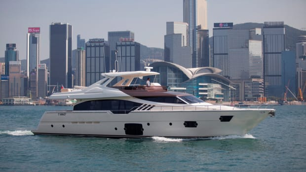 """The Ferretti Yachts 870 """"Tai He Ban"""" will be on display later this week at the Hong Kong International Boat Show."""