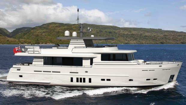 With its round bilge, the 82-foot boat will be available in full- or fast-displacement versions.