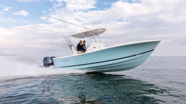The 2017 model of the Regulator 25 is shown. Regulator is updating all of its models for 2018, and the 25 will be equipped with a newly redesigned SuperSport Leaning Post and Tackle Center.