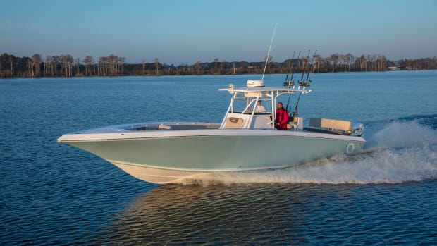 Iconic Marine Group is focusing on outboard-powered boats over 30 feet in its Fountain, Donzi and Baja brands. Shown is the 38-foot Fountain center console, which was new for model year 2017.