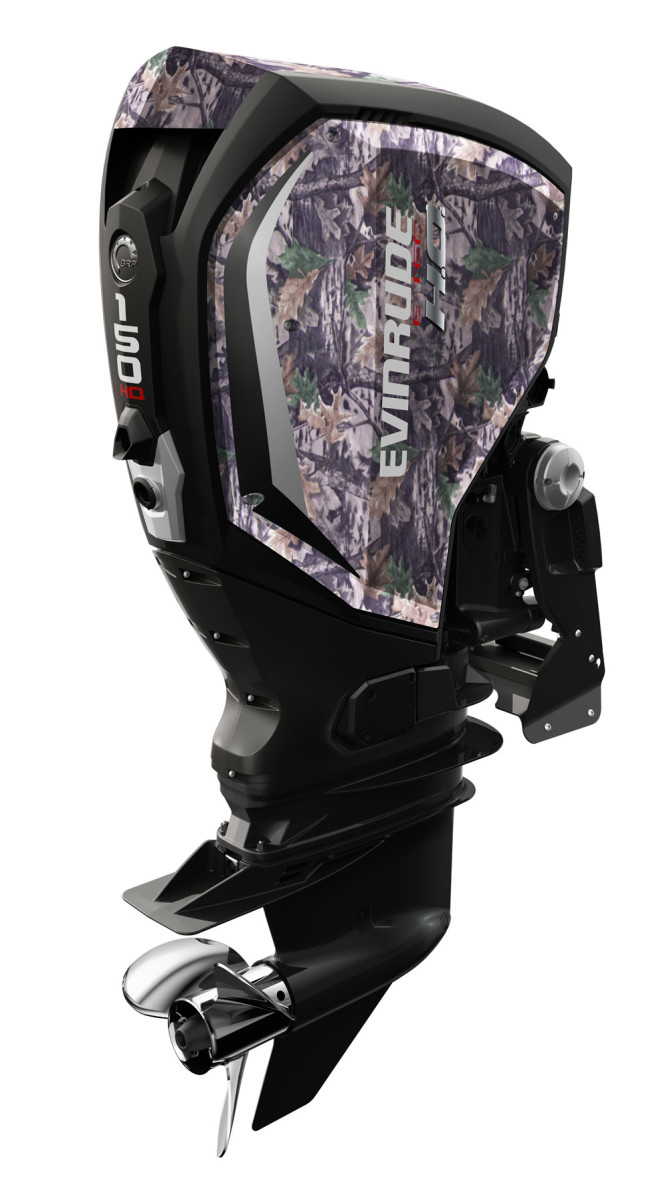 Evinrude's new E-TEC G2 series is available from 150 to 300 hp. The 150-hp model is shown.