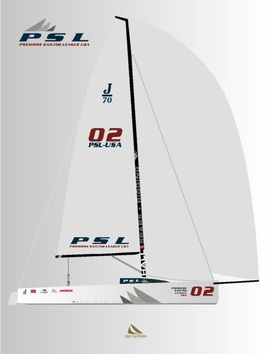 The Premiere Sailing League USA will use specially built American boats. The J/70, shown here, will be used in district qualification regattas; J/88s will be used in the national finals.