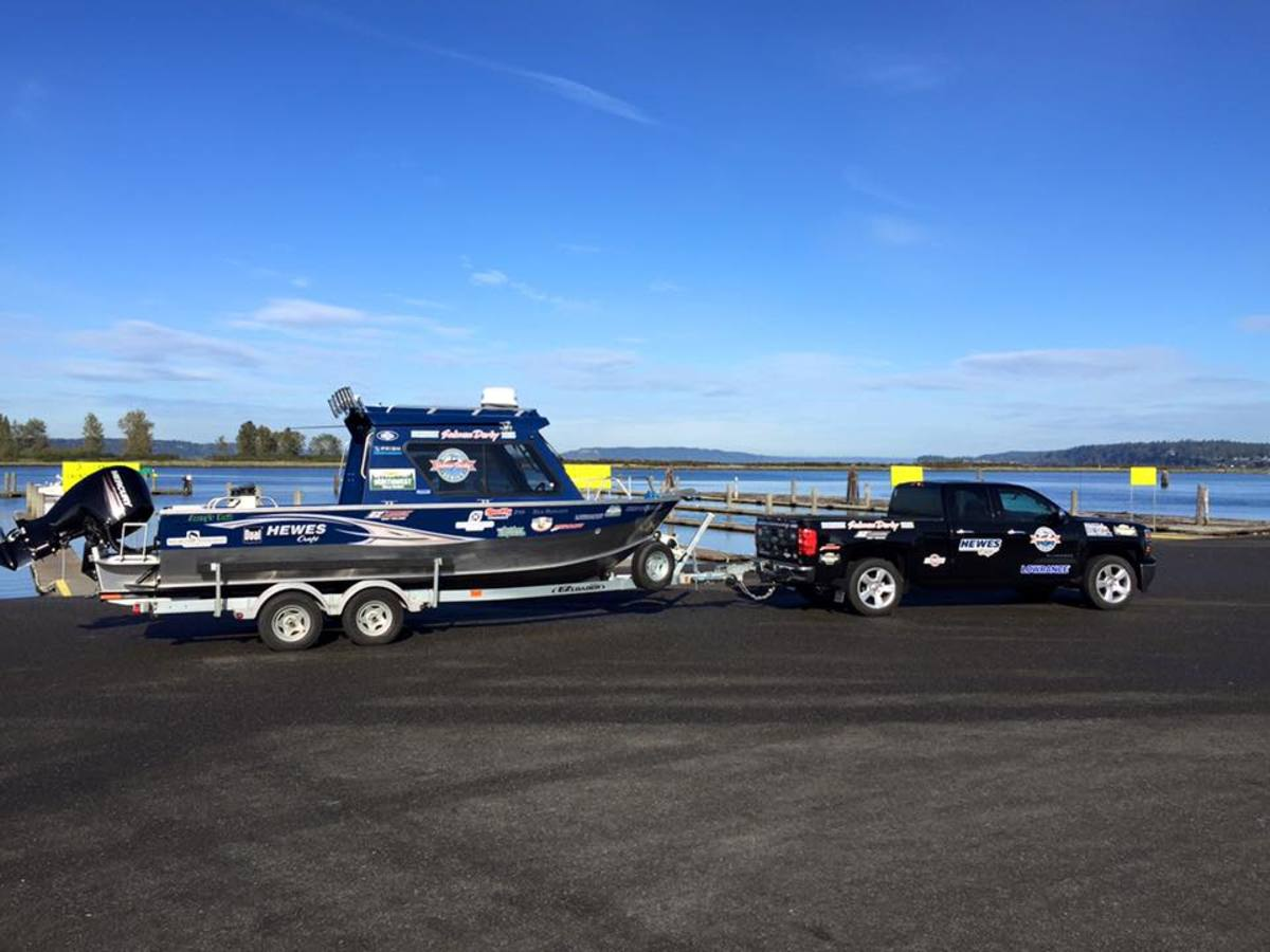The grand-prize boat arrives at the Port of Everett boat launch for the Everett Coho Derby, the largest salmon derby on the West Coast.