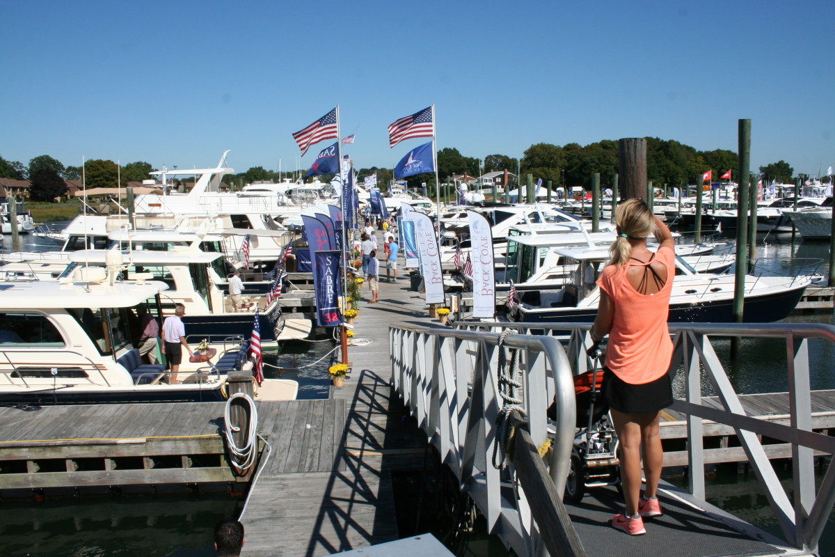 There was not a cloud in the sky to mar the opening Thursday of the Norwalk Boat Show in southwestern Connecticut, an important showcase for the New York tri-state area.