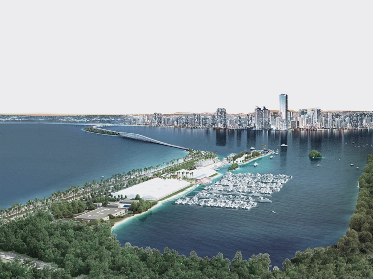 A rendering of the NMMA's vision for the Miami International Boat Show, set to take place Feb. 11-15 at the Miami Marine Stadium Marine Park and Basin.