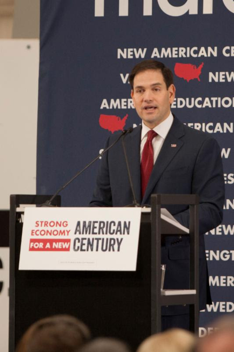 Florida Republican Sen. and presidential hopeful Marco Rubio holds a town hall-style meeting at JRL Ventures/Marine Concepts' Sarasota facility.