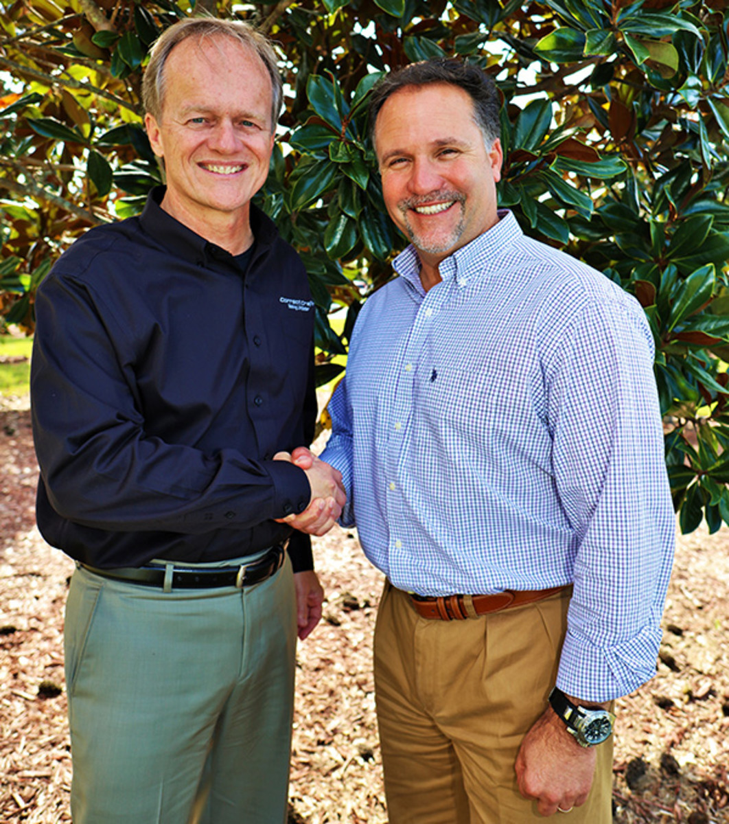 Paul Singer (right) was named president of Correct Craft brands Centurion Boats and Supreme Boats. He is shown with Correct Craft CEO Bill Yeargin.