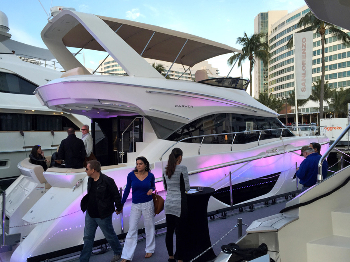 Carver and Marquis Yachts launched the Carver C50 Command Bridge Wednesday night at Yachts Miami Beach.