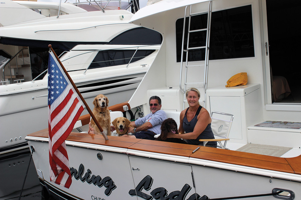 This year, for the first time, Karen and Dave are wintering in Florida aboard their 50-foot Post, mixing business with pleasure.