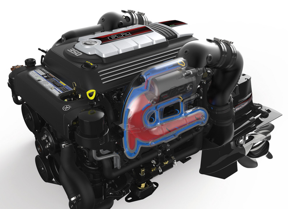 Mercury offers its in-house-built MerCruiser 6.2-liter V-8 in 300- and 350-hp configurations.