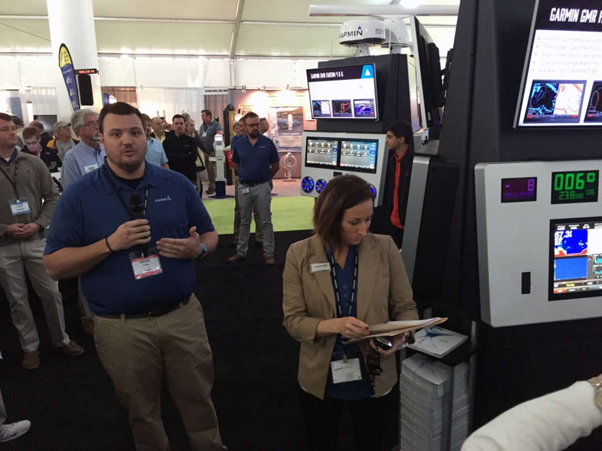 David Dunn (left), senior manager of marine sales and marketing at Garmin, and Carly Hysell, the company's media relations manager, made nine announcements at the Mi-ami International Boat Show, including a new radar system.