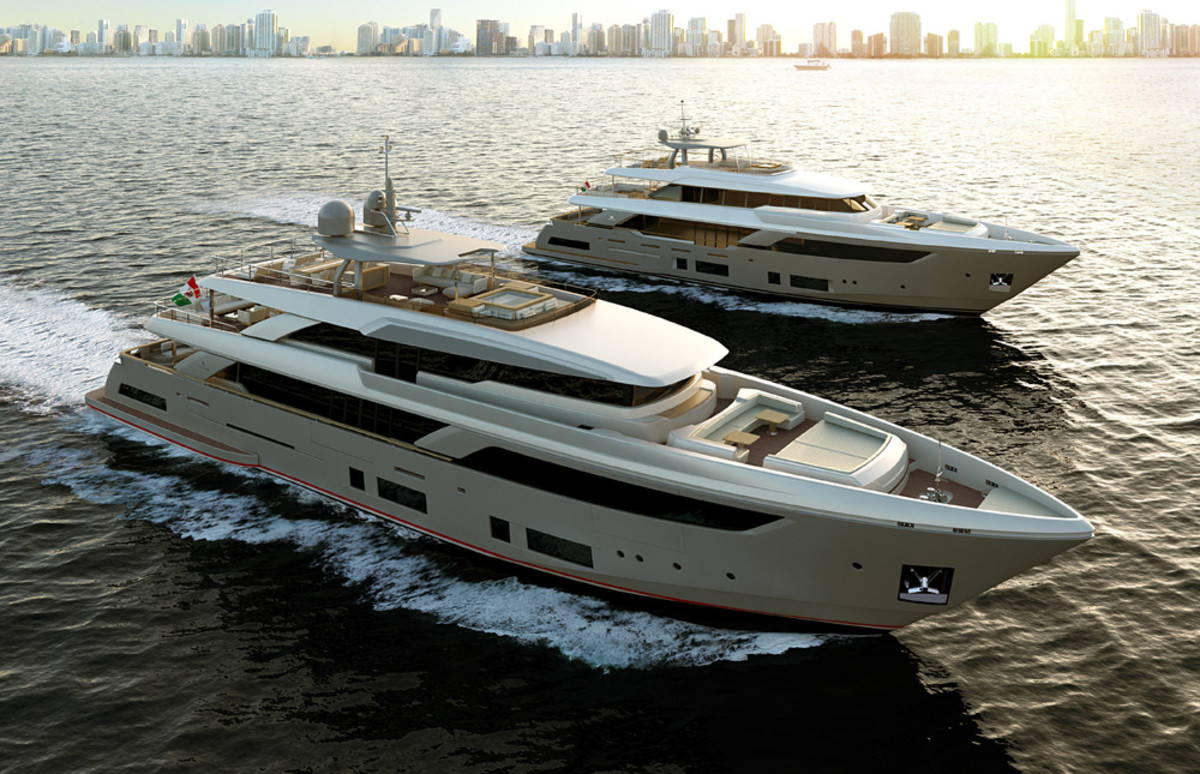The Ferretti Group announced plans for the Custom Line Navetta 42 (rendering in foreground) at Yachts Miami Beach, adding to the series that includes the Navetta 37 (shown at rear).