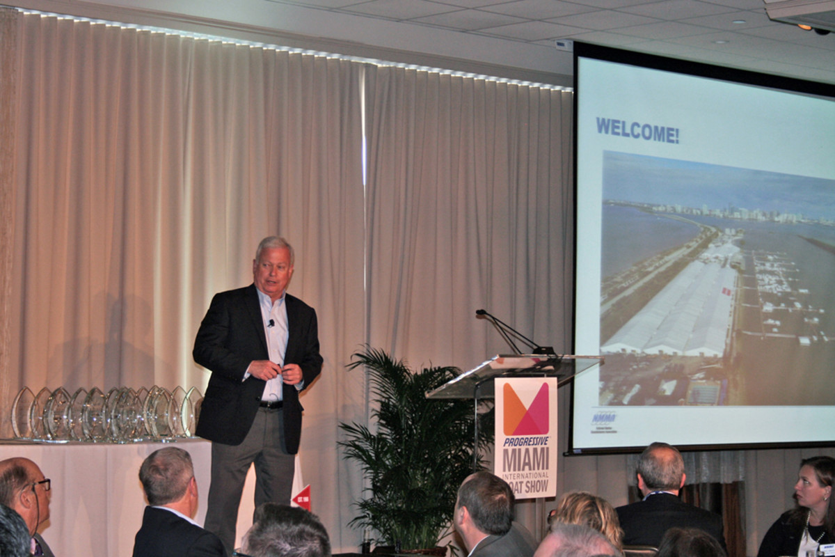 """Strong sales, higher consumer confidence, lower gas prices — I think we're poised for a very strong year in 2016,"" NMMA president Thom Dammrich told the industry breakfast audience this morning."