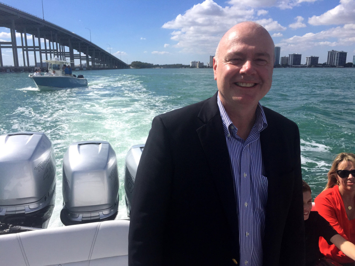 David Foulkes, vice president of product development, engineering and racing at Mercury Marine and Brunswick Corp.'s chief technology officer, said the ability to take customers right from Mercury's booth to the docks for sea trials was a major selling point at the Miami show.