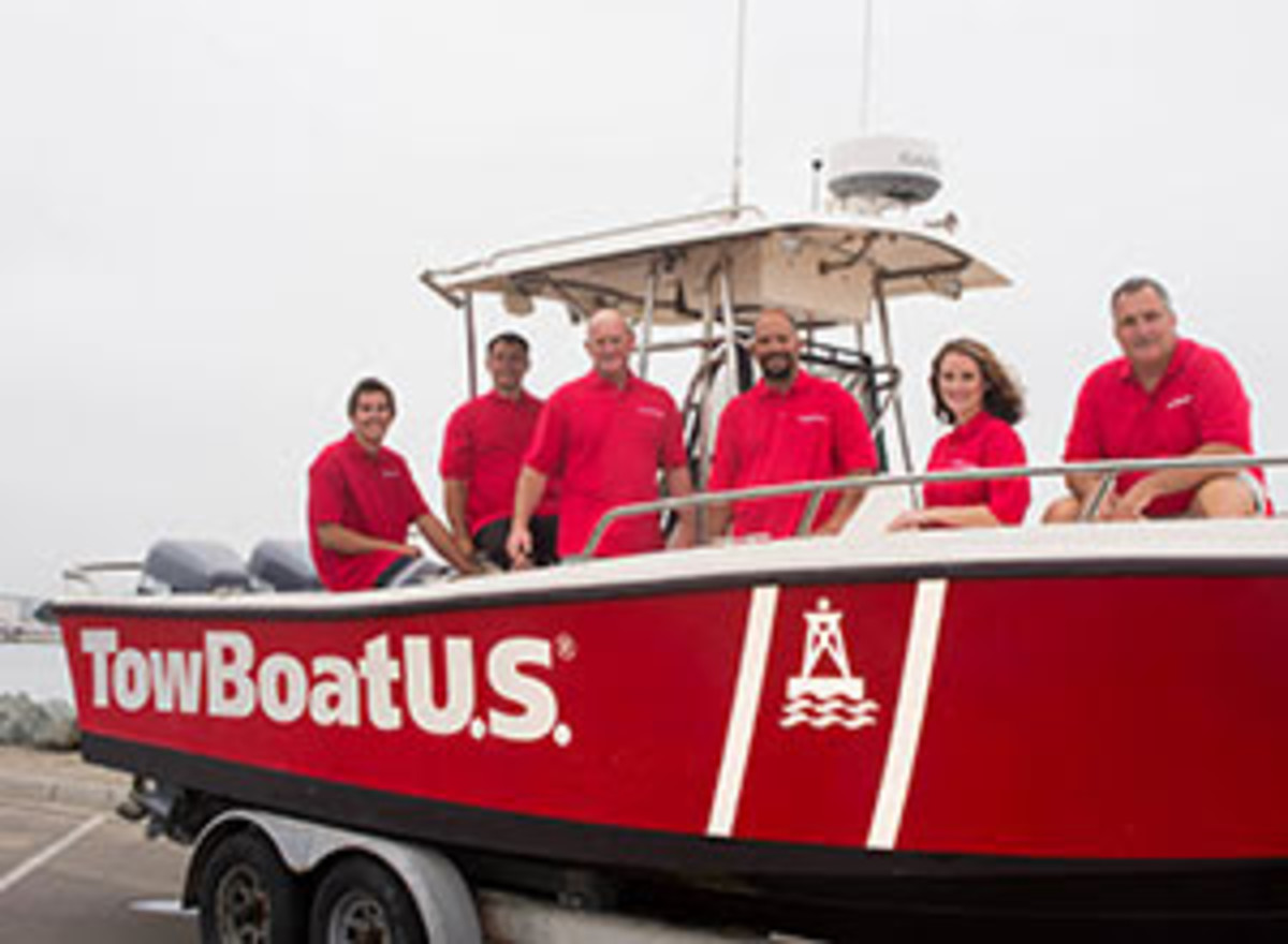 Capt. Robert Butler (right) of TowBoatUS San Diego is shown with captains and crew aboard the first West Coast TowBoatUS towing response boat. PHOTO CREDIT: David J. Shuler Marine and Yacht Photography