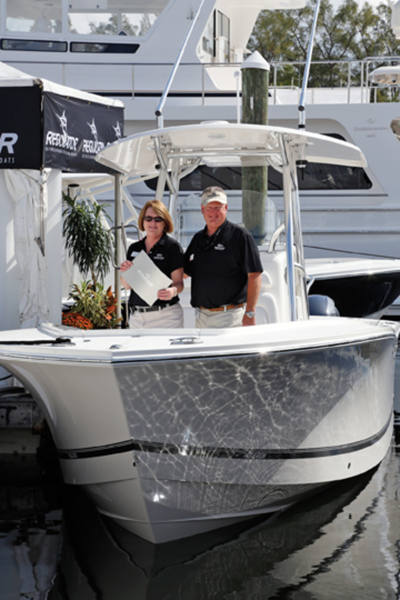 Regulator's Joan and Owen Maxwell on their new 25-footer.