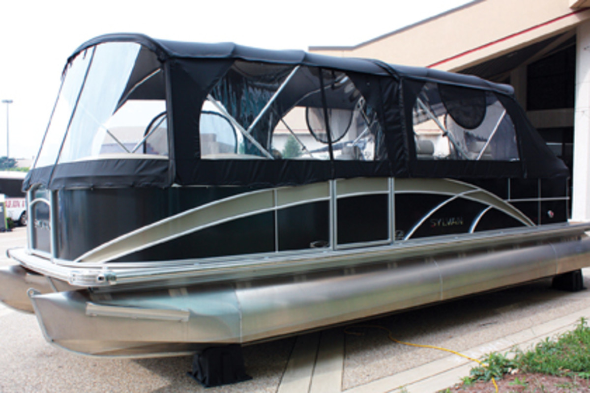 Taylor Made and Ameritex displayed a Sylvan pontoon equipped with their canvas at IBEX.