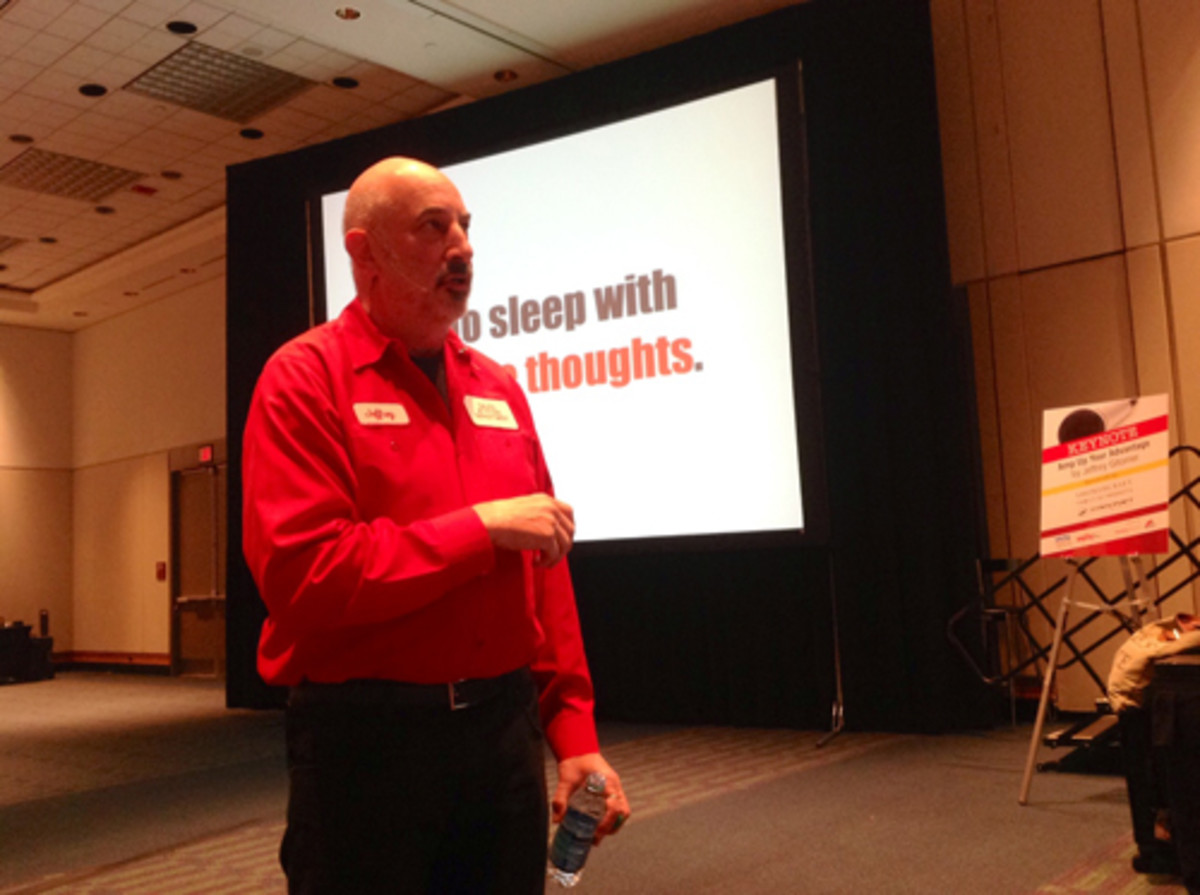 Noted business guru Jeffrey Gitomer delivers his keynote address Monday at the Marine Dealer Conference & Expo.