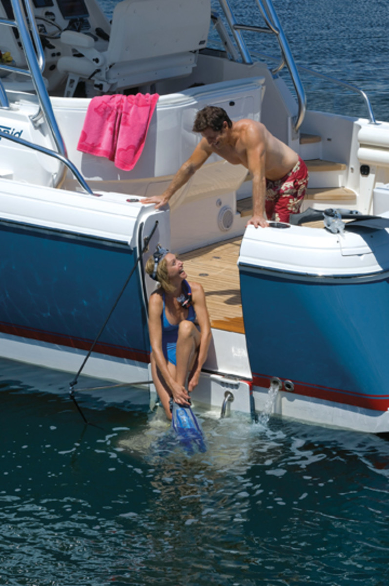 Optional hullside dive doors are designed to keep divers and swimmers safely away from props.