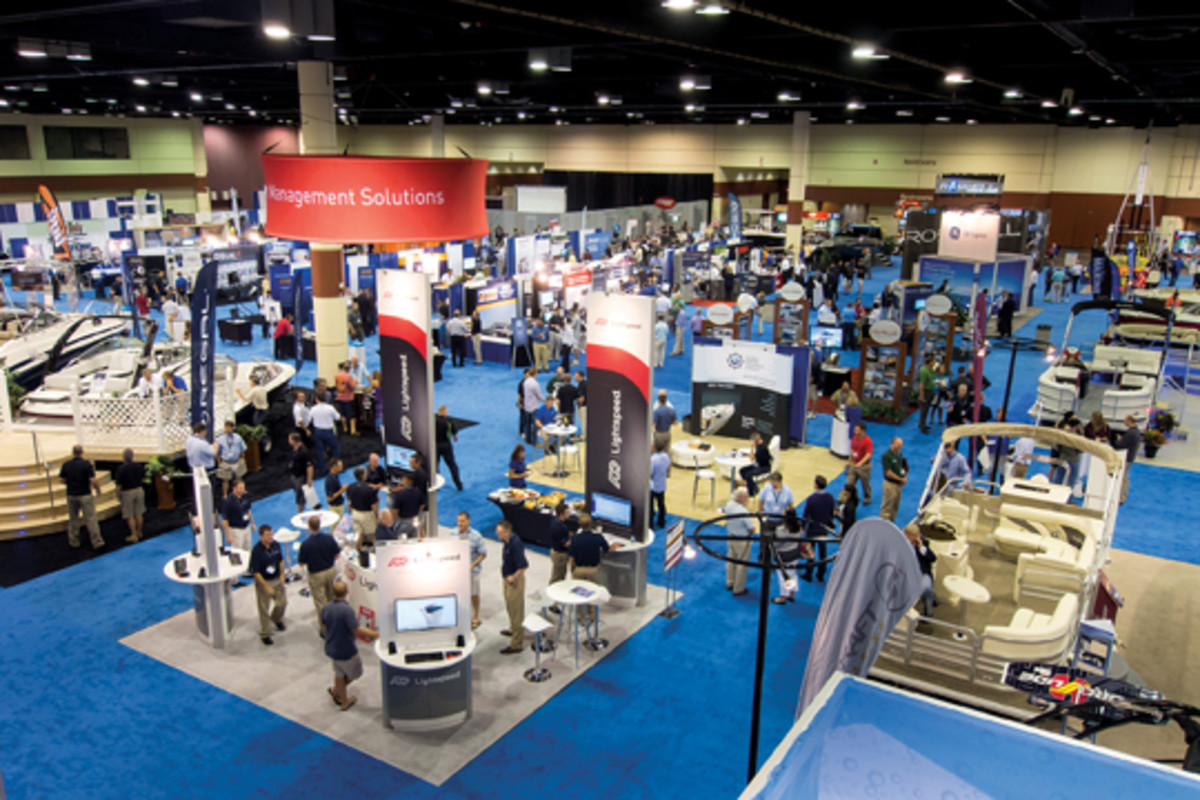 The 100 exhibitors at the conference included several pontoon builders.