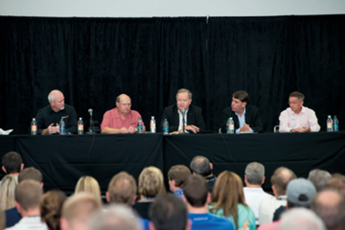 Rick Correll (left) of Tige Boats; Bob Menne of Premier Marine; Mark Schwabero of Mercury Marine; Ron Huibers of Volvo Penta of the Americas; and Bill McGill of MarineMax comprised the panel.