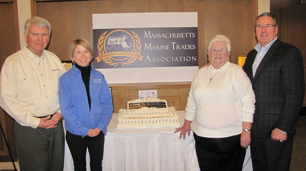 (From left): Ed Lofgren, president of 3A Marine of Hingham and board member of the Massachusetts Marine Trades Association and trustee of the Massachusetts Marine Trades Educational Trust; Nathalie Grady, executive director; Mary Horan, administrative assistant; Larry Russo, Sr., president of Russo Marine and board member.