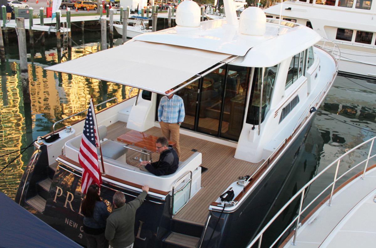 SureShade introduced two products at the Miami boat shows — one for a 27-foot Scout at the Miami International Boat Show and the other geared for this Sabre 66 Dirigo, which debuted on Collins Avenue at Yachts Miami Beach.
