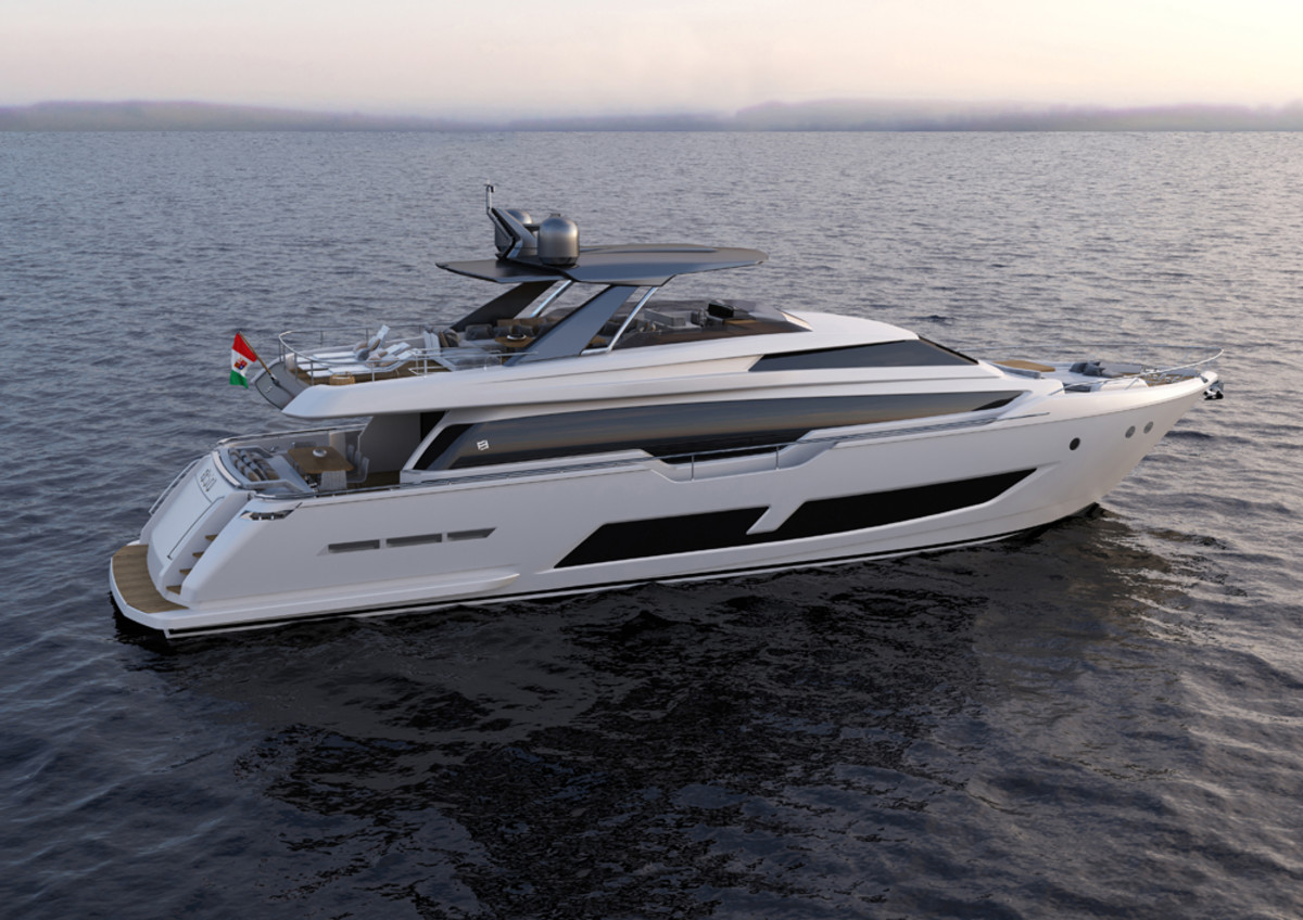 The Ferretti 850 Flybridge which will launch during the Cannes Yachting Festival in September.