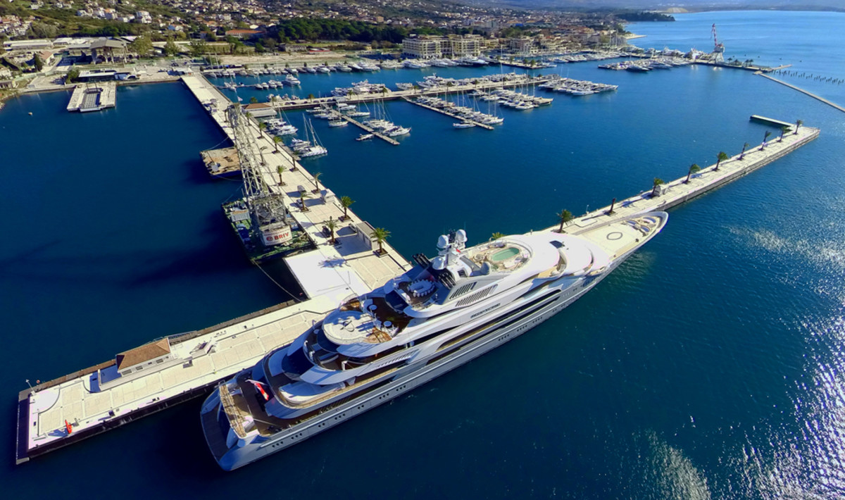 The new 820-foot berth at Porto Montenegro can handle some of the largest yachts in the world.