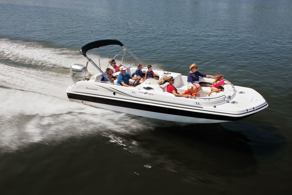 Malone says Nautic has 75 percent of the outboard deckboat market. The Hurricane Sun Deck Sport 232 is shown.