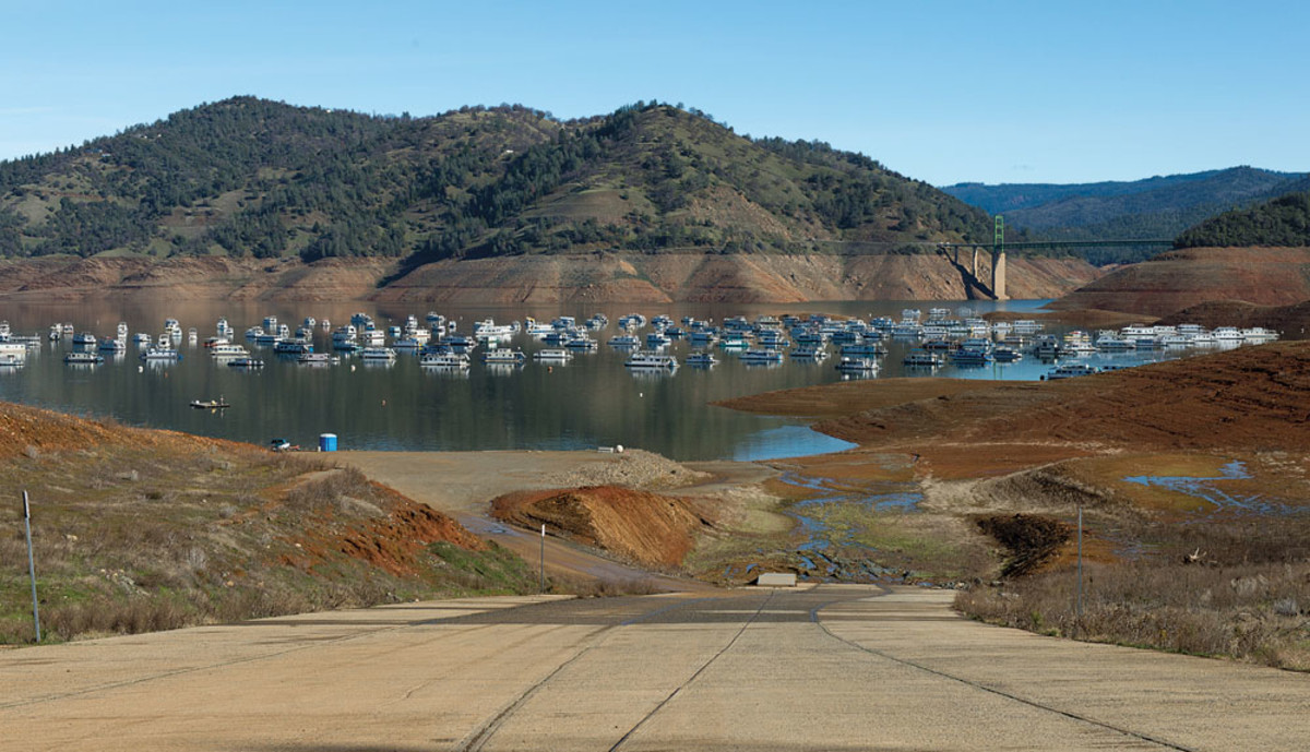 The concrete launch ramp at Bidwell Canyon on Lake Oroville shows that although boating conditions have improved dramatically, the water level in late January stood at only 39 percent of capacity.