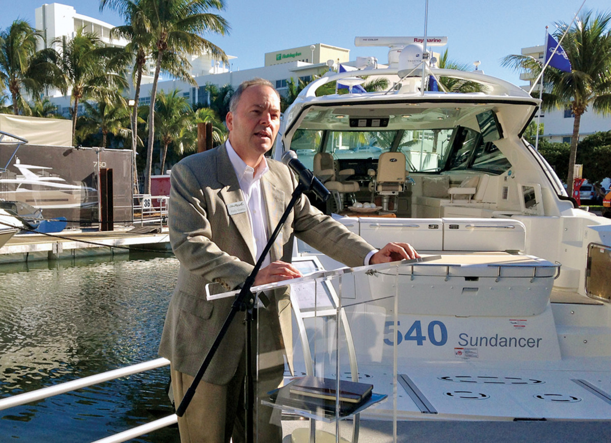 Brunswick Boat Group president Andy Graves introduces Sea Ray's L-Class line of luxury motoryachts at the Yacht & Brokerage Show.