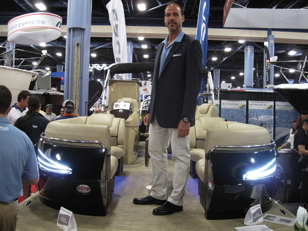 Larson Boat Group president Rob Parmentier showcased Larson's re-entry into the pontoon market with the Escape.