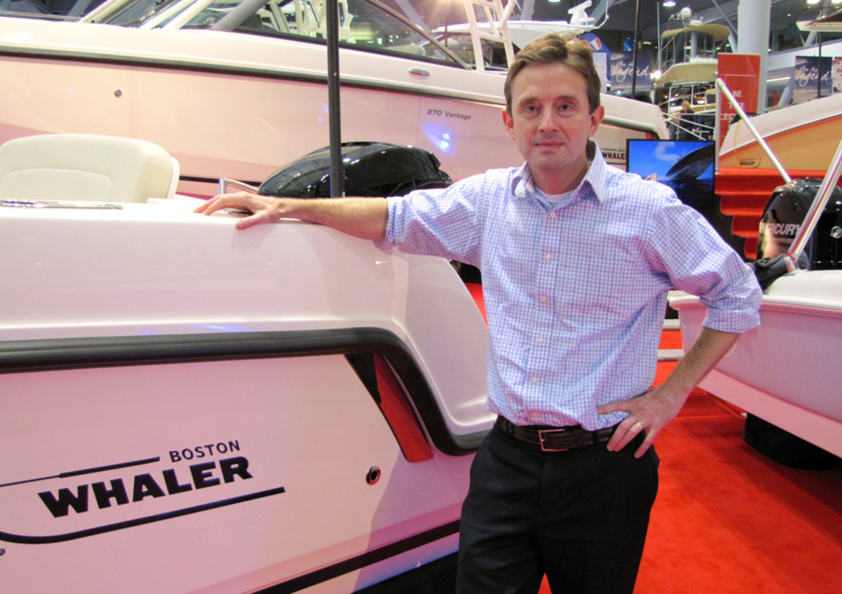 Boston Whaler president Huw Bower is shown at the New England Boat Show.