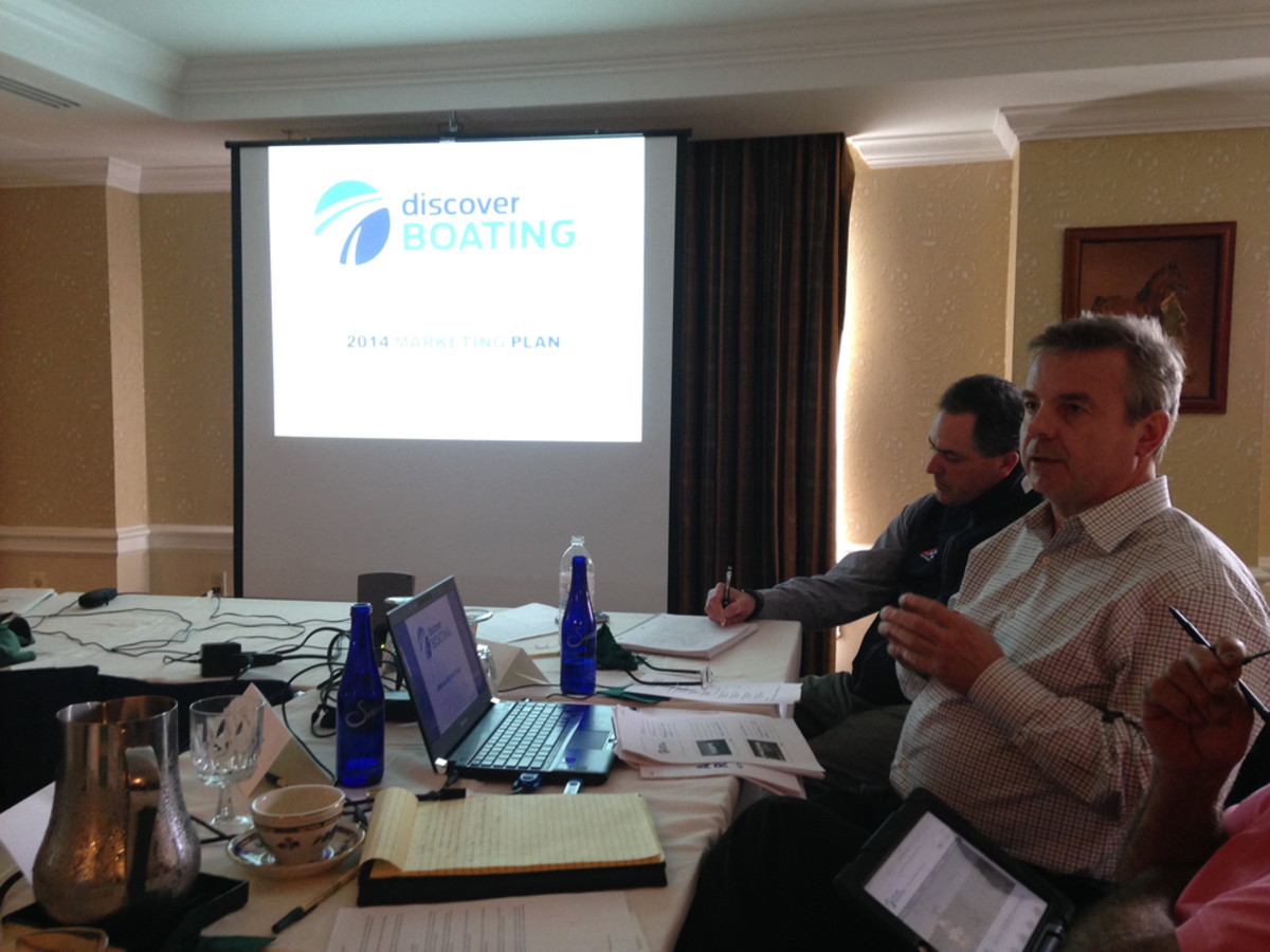 Discover Boating chief marketing officer Carl Blackwell displays Discover Boating's new logo and 2014 action plan at Monday's meeting of the Recreational Boating Leadership Council.
